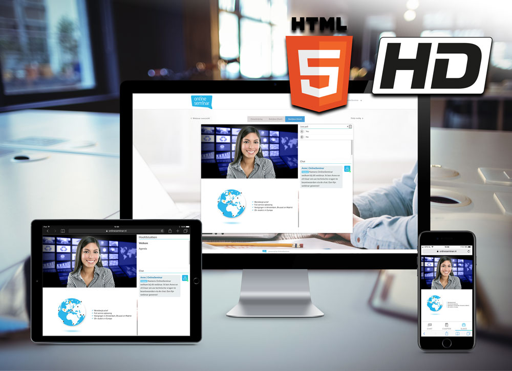 new webinar player HD kwaliteit in HTML technologie